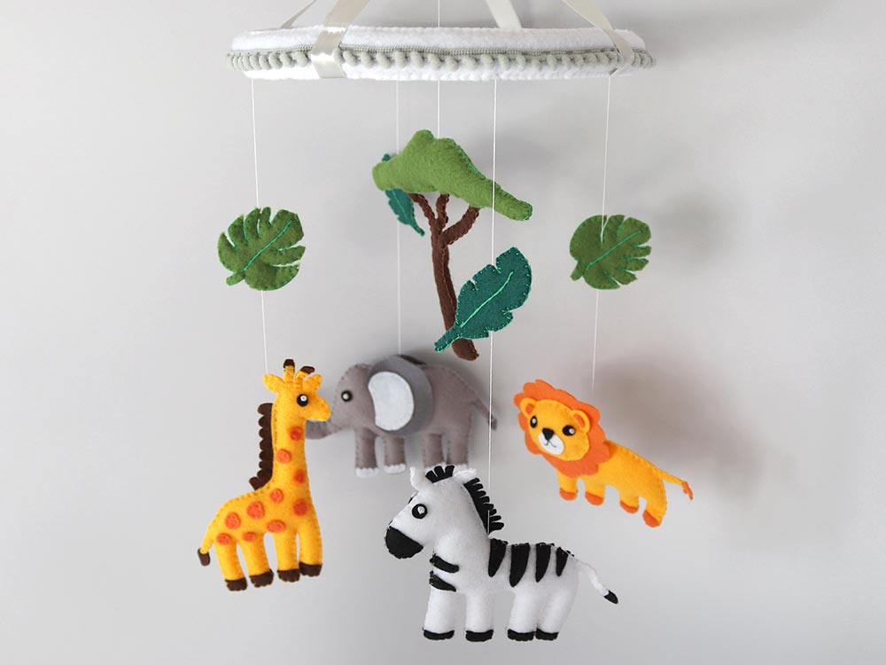Safari baby mobile Jungle nursery decor African animals mobile elephant  hanging mobile Gender neutral baby gift