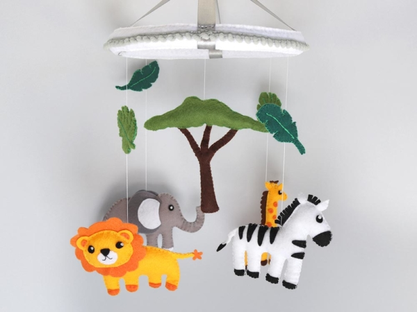 African safari baby mobile hanging position