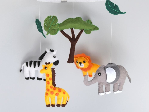 African safari cot baby mobile hanging position