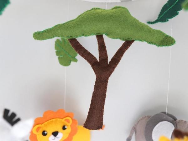 African safari baby mobile felt tree