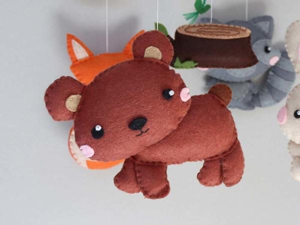 Baby mobile woodland animals theme, felt bear