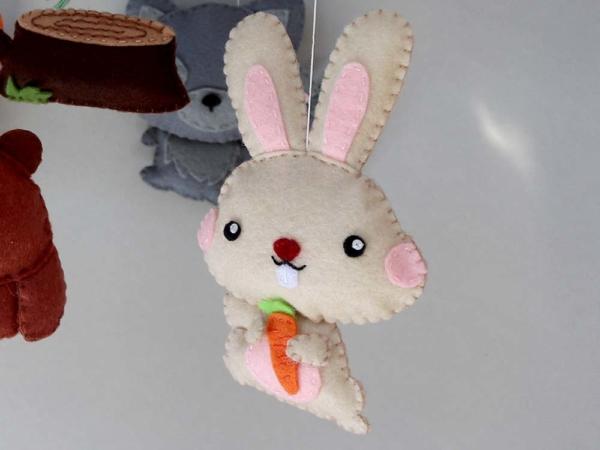 Baby mobile woodland animals theme, felt bunny