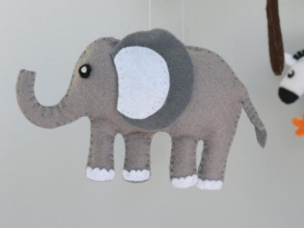 African safari baby mobile felt elephant