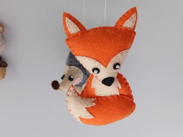 Baby mobile woodland animals theme, felt fox