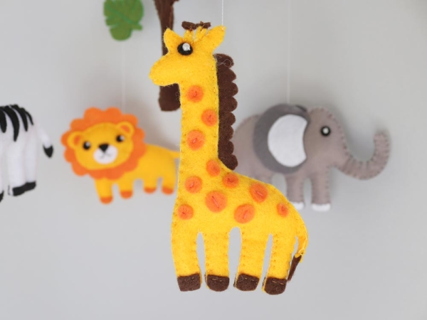 African safari baby mobile felt giraffe