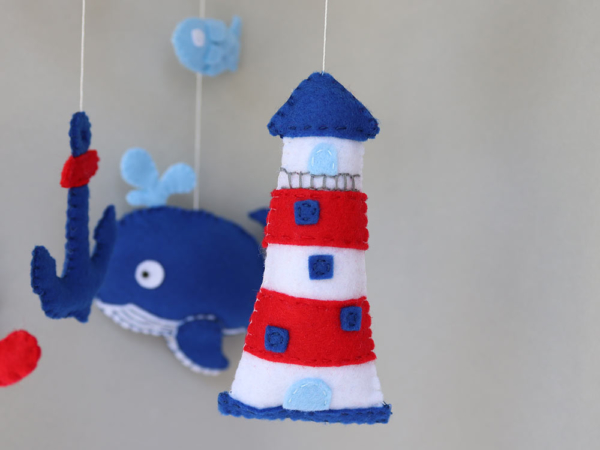 Nautical crib mobile felt lighthouse