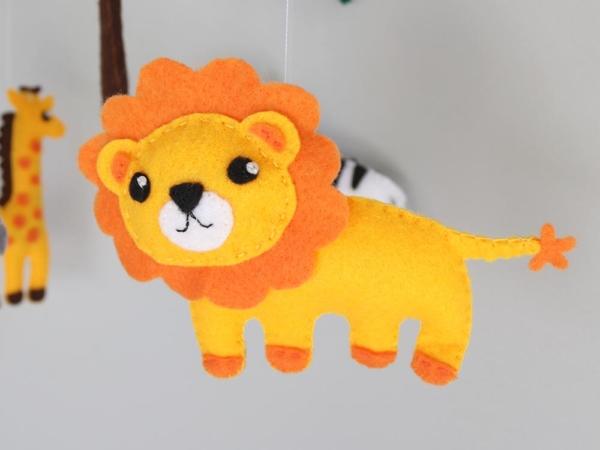 African safari baby mobile felt lion