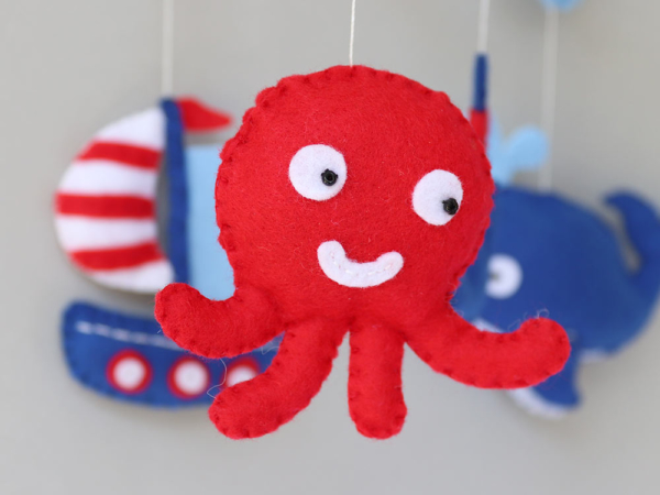 Nautical crib mobile felt octopus