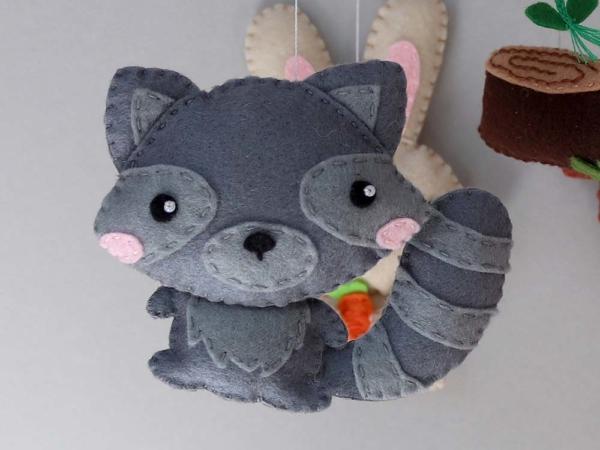 Baby mobile woodland animals theme, felt raccoon