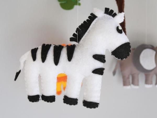 African safari baby mobile felt zebra