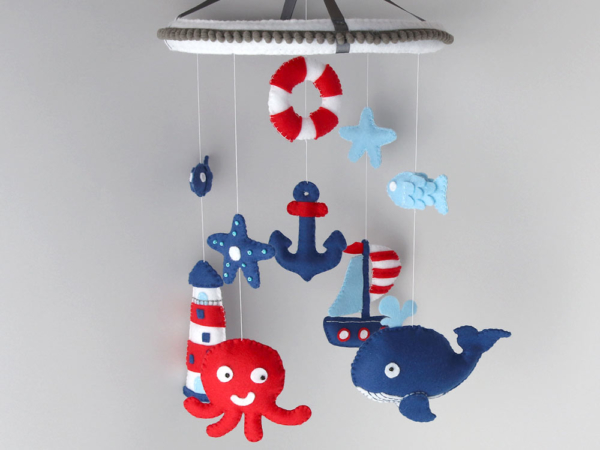 Nautical whale crib mobile hanging position