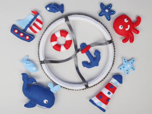 Nautical whale crib mobile top view