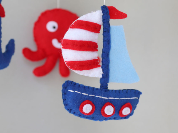 Nautical crib mobile felt sailboat
