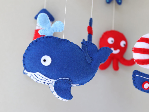 Nautical crib mobile felt whale