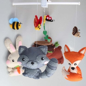 Forest animals baby mobile hanging position