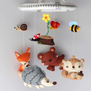 Woodland nursery baby mobile hanging position