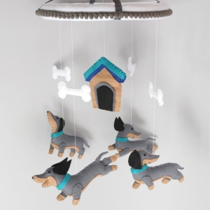 Dachshund dog baby mobile hanging position
