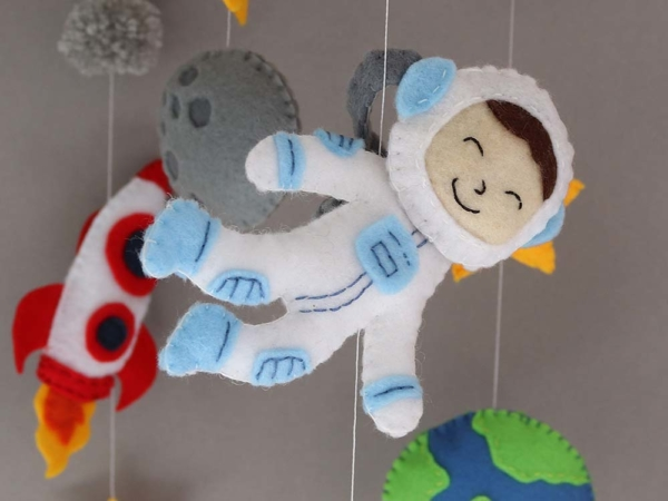 space themed crib mobile astronaut