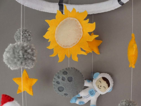 space themed crib mobile sun and moon