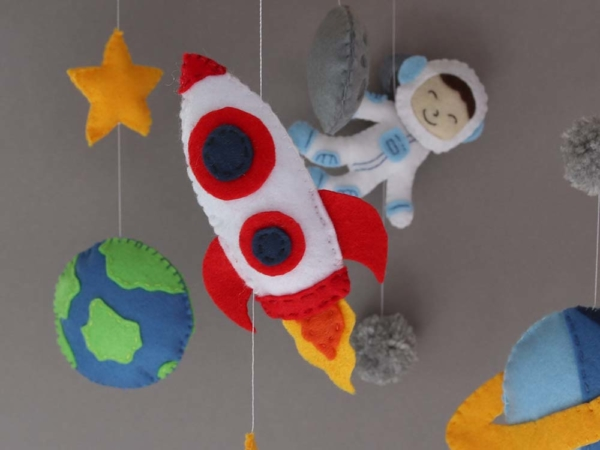 space themed crib mobile rocket