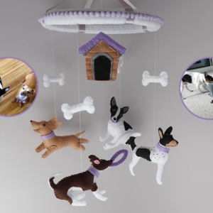 Dog lover baby mobile customised