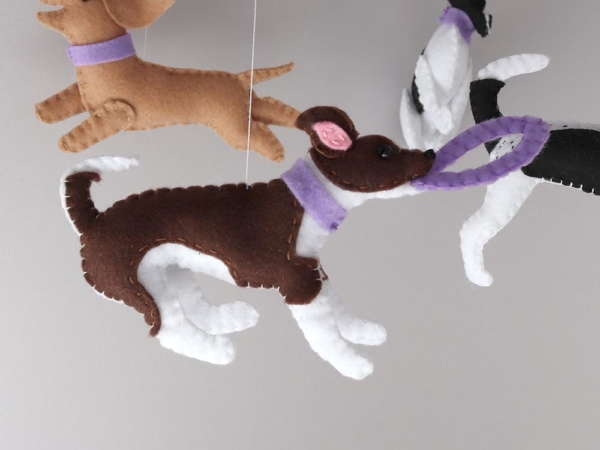 Dog lover baby mobile customised felt chihuahua