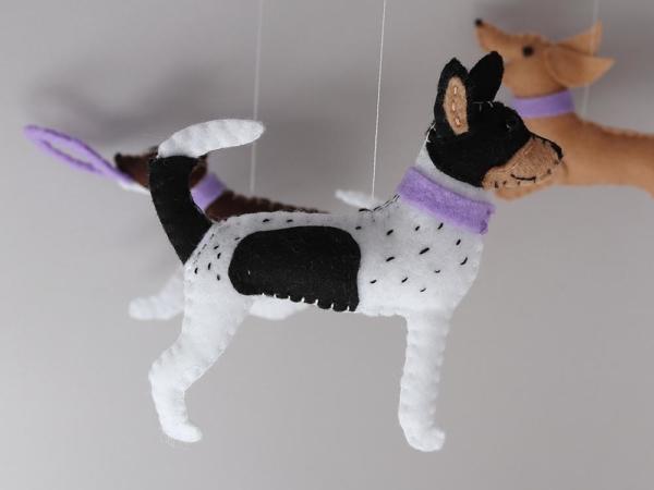 Dog lover baby mobile customised felt rat terrier