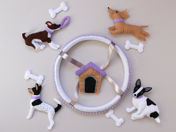 Dog lover baby mobile customised top view