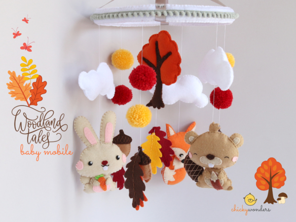 Autumn woodland baby mobile