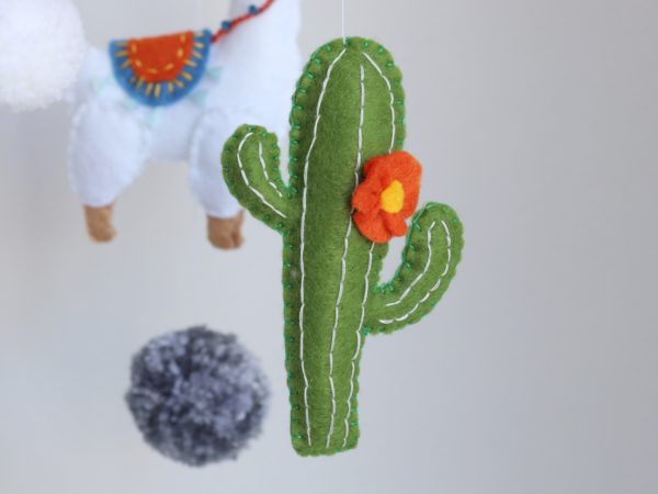 Cute felt cactus with felt flower