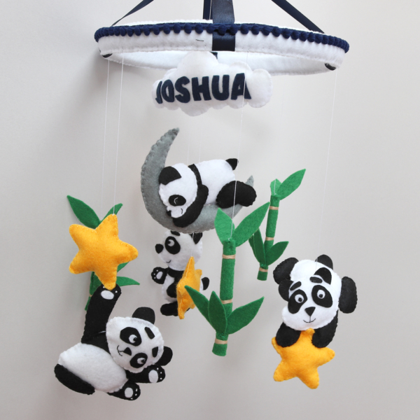 panda and bamboo baby mobile