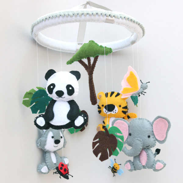 Safari baby animals mobile