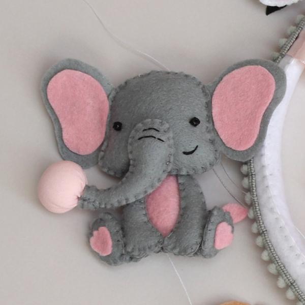 felt elephant with bubble gum