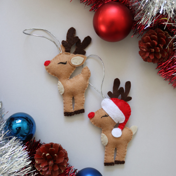 Christmas reindeer felt ornaments